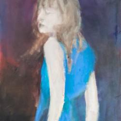 Frau in Blau, 80 x 60 cm, Vinyl, Öl auf Leinwand 2015